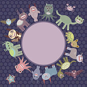 Card for text in circle. Funny monsters dark dot background.