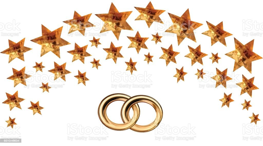 Card For The Wedding Ceremony Of Orthodox Judaism With Two Golden