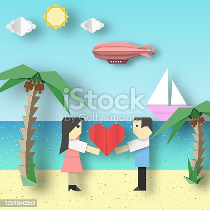 Paper Origami Concept Card for Valentine's Day with Couple, Ship, Dirigible, Sea, Sun, Sky. Papercut Style and Cutout Trend. Applique Scene with Elements, Symbols. Vector Illustrations Art Design.