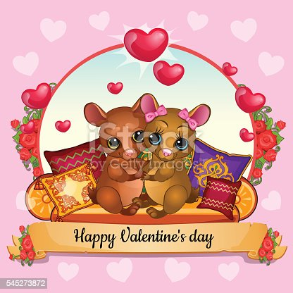 Card for Valentines Day with hamsters hugging