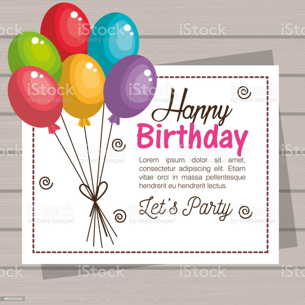 card happy birthday balloons graphic royalty-free card happy birthday balloons graphic stock vector art & more images of abstract