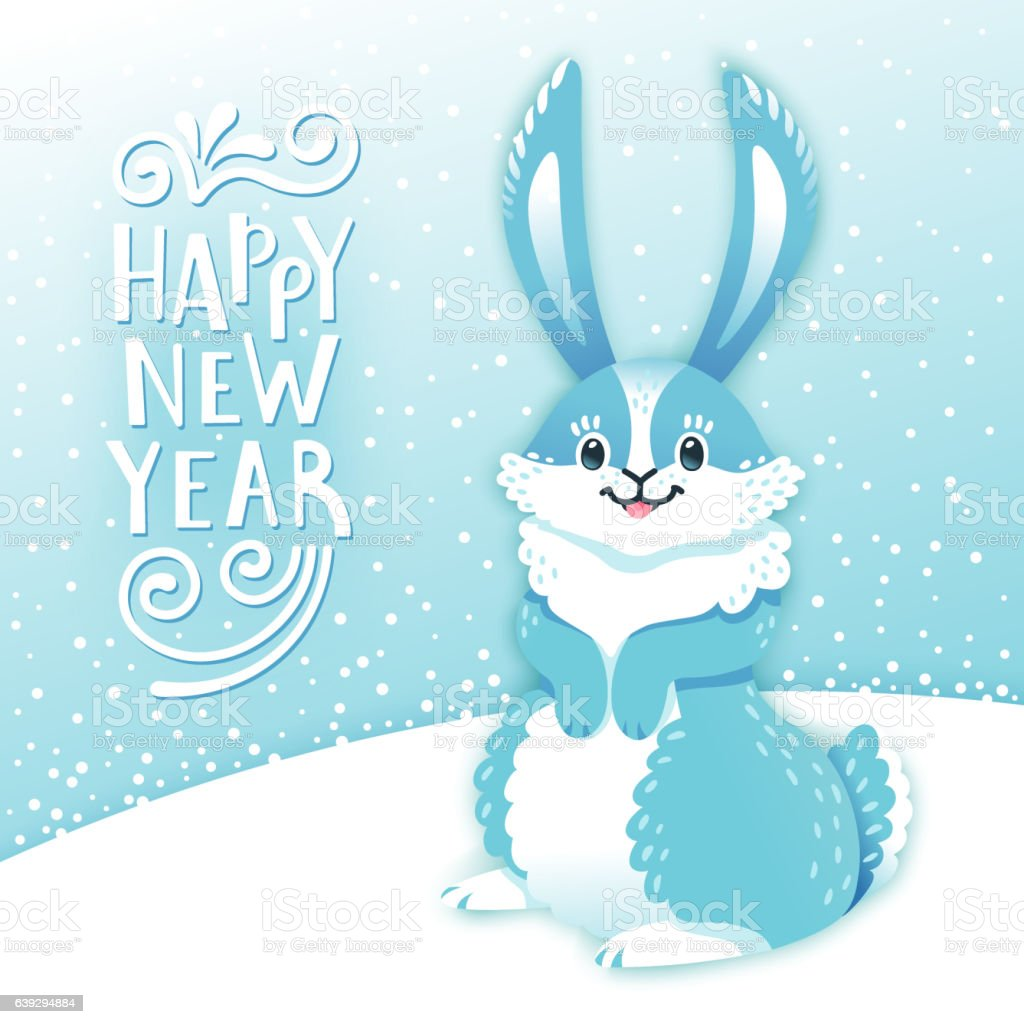 card happy new year with cartoon rabbit funny bunny cute のイラスト