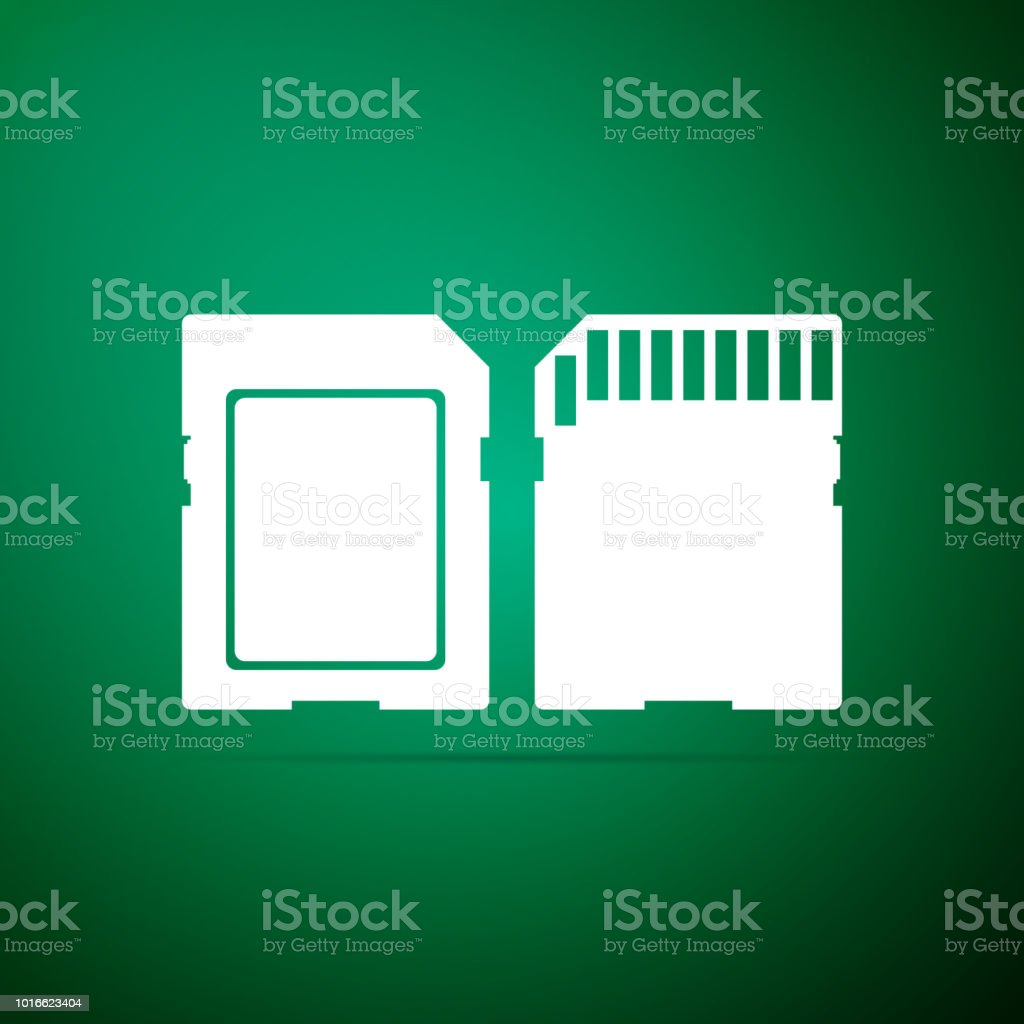 SD card icon isolated on green background. Memory card. Adapter icon. Flat design. Vector Illustration vector art illustration