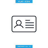 istock ID Card Icon Vector Design Template. Trendy Style With Editable Stroke. 1276399907