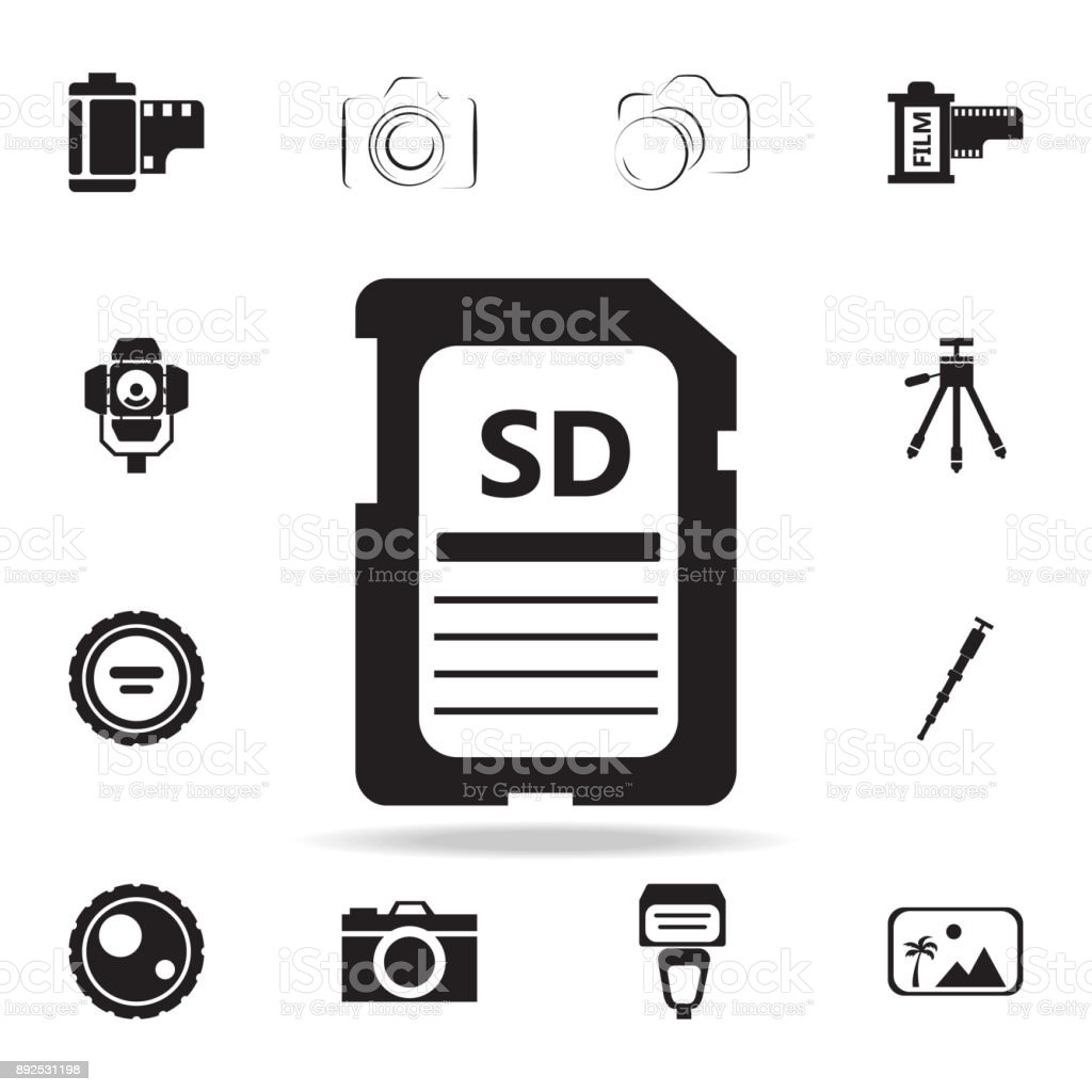 SD card icon with shadow. Set of Photo elements icon. Photo camera quality graphic design collection icons for websites, web design, mobile app vector art illustration