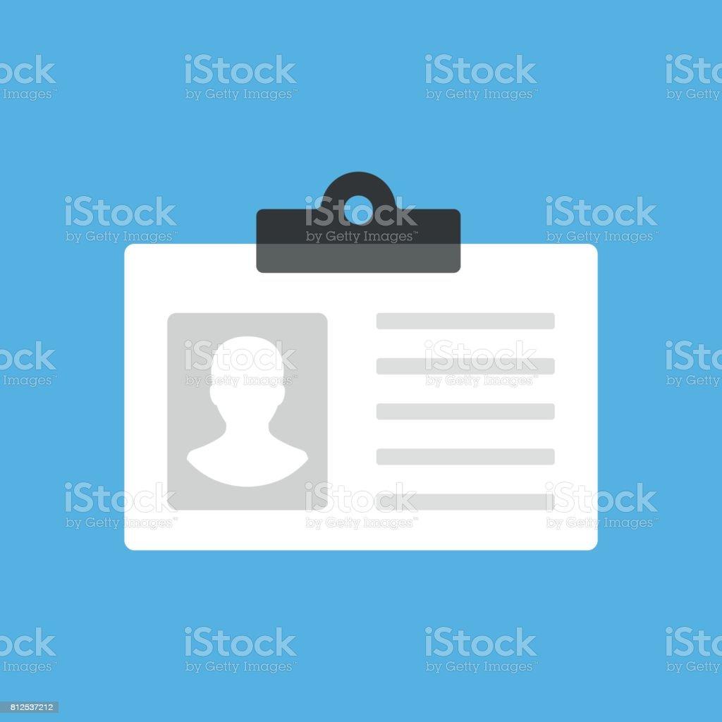 Tarjeta de identificación, tarjeta de identificación, gafete de empleado, icono de licencia de conducir. Plano de moderna concepción. Icono de vector - ilustración de arte vectorial