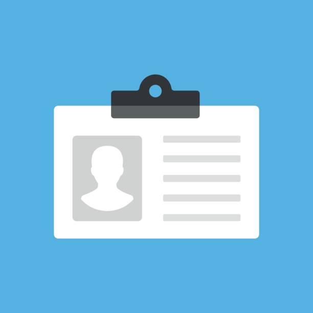 ilustraciones, imágenes clip art, dibujos animados e iconos de stock de tarjeta de identificación, tarjeta de identificación, gafete de empleado, icono de licencia de conducir. plano de moderna concepción. icono de vector - carne