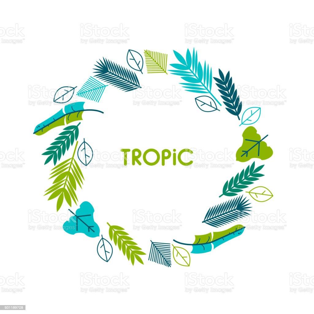 Karte Einladung Banner Mit Tropischen Blättern Kranz Kreis Rahmen ...