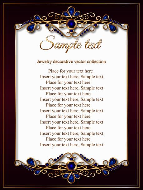 Karte, Einladung, Zertifikat oder ein Menü mit einem Goldrahmen Juwelen blau – Vektorgrafik