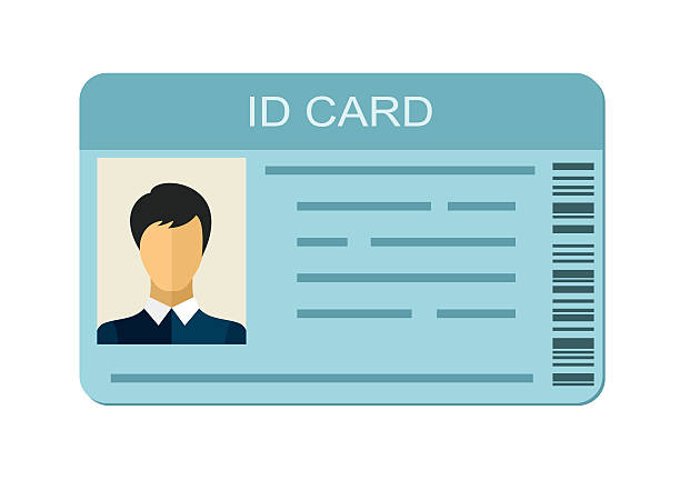 ID Card isolated on white background. Business identification icon. ID Card isolated on white background. Identification card icon. Business identity ID card icon template badge. Identification personal contact in flat style id card stock illustrations
