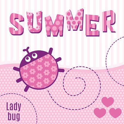 Card ladybug pink vector illustration