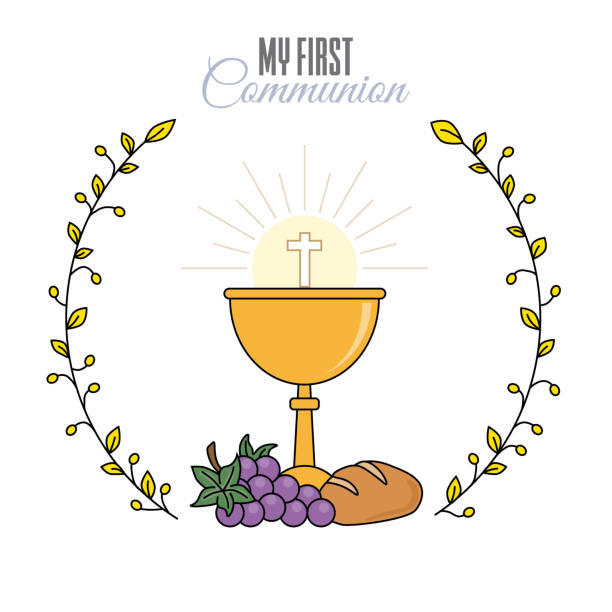 card my first communion invitation - communion stock illustrations, clip art, cartoons, & icons