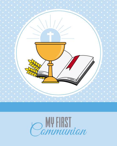 ilustraciones, imágenes clip art, dibujos animados e iconos de stock de tarjeta mi primera invitación de la comunión. - comunión