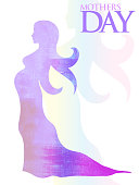 Beautiful mother silhouette with her daughter. vector illustration