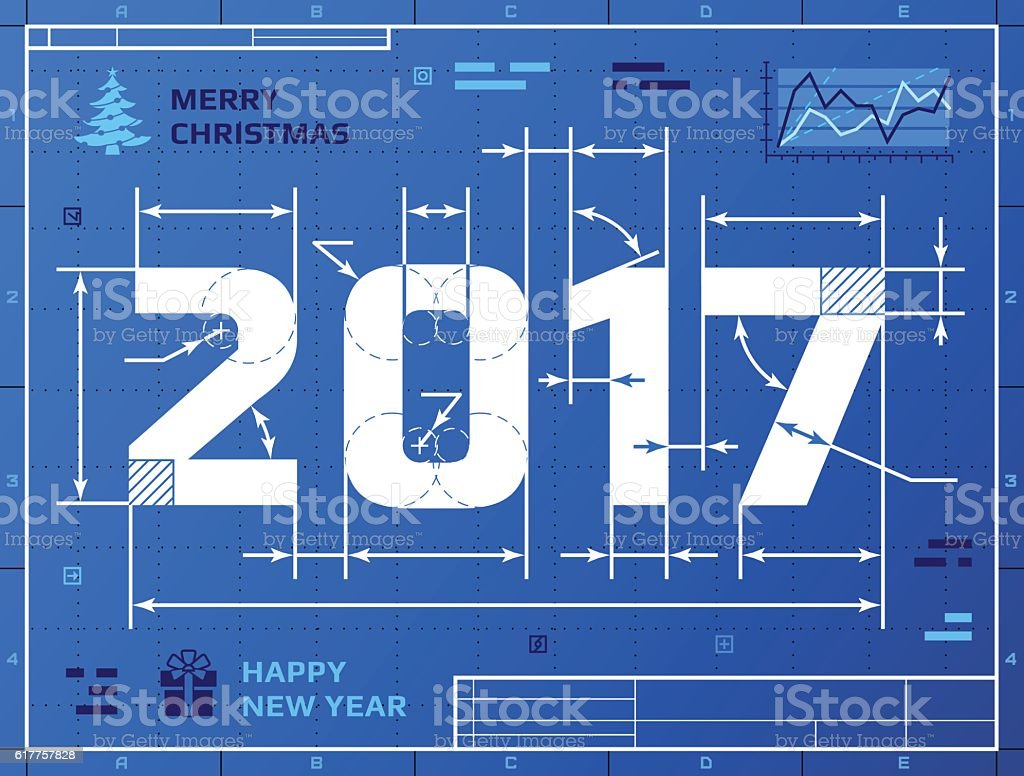 Card of new year 2017 as blueprint drawing stock vector art more card of new year 2017 as blueprint drawing royalty free card of new year 2017 malvernweather Choice Image
