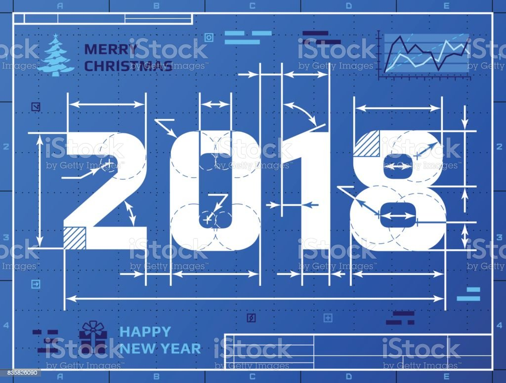 Card of new year 2018 as blueprint drawing stock vector art more blueprint christmas event graph holiday event malvernweather Image collections