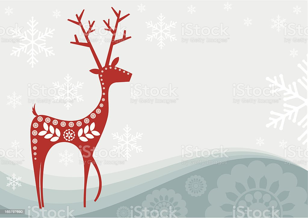 Card of red reindeer as snowflakes fall royalty-free card of red reindeer as snowflakes fall stock vector art & more images of animal