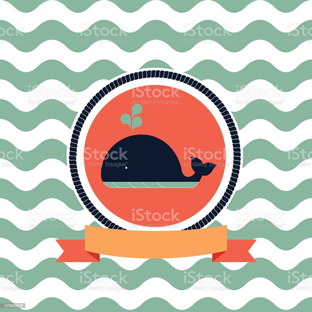 card of the sea whale vector art illustration