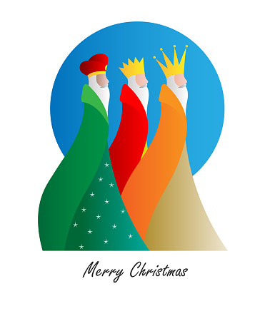 Card of the three wise men. Isolated vector