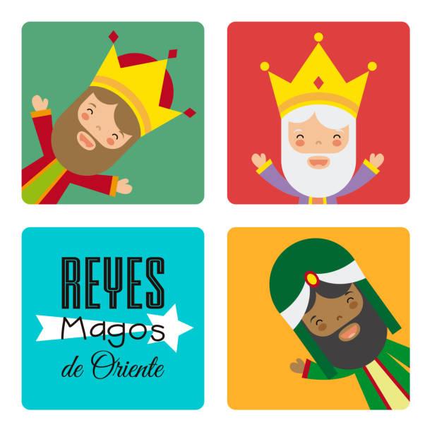 ilustrações de stock, clip art, desenhos animados e ícones de card of the three wise men. spanish text three wise men - reis magos