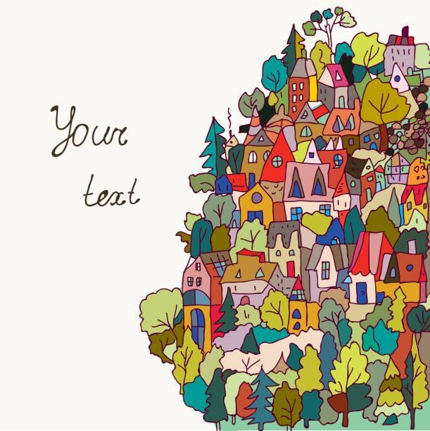 stockillustraties, clipart, cartoons en iconen met kaart of banner met huizen en bos-grappige stijl, vector illustratie - buren