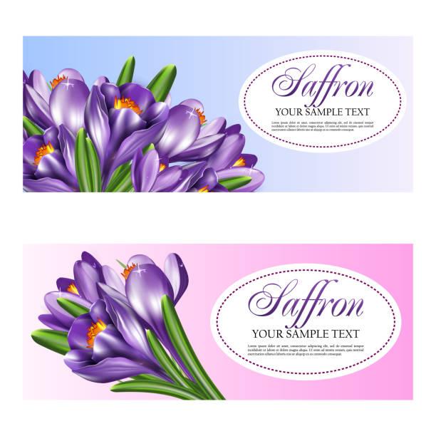 Karte oder eine Einladung mit den Blumen des Safrans. Vektor-Illustration mit Bouquet Krokusse – Vektorgrafik