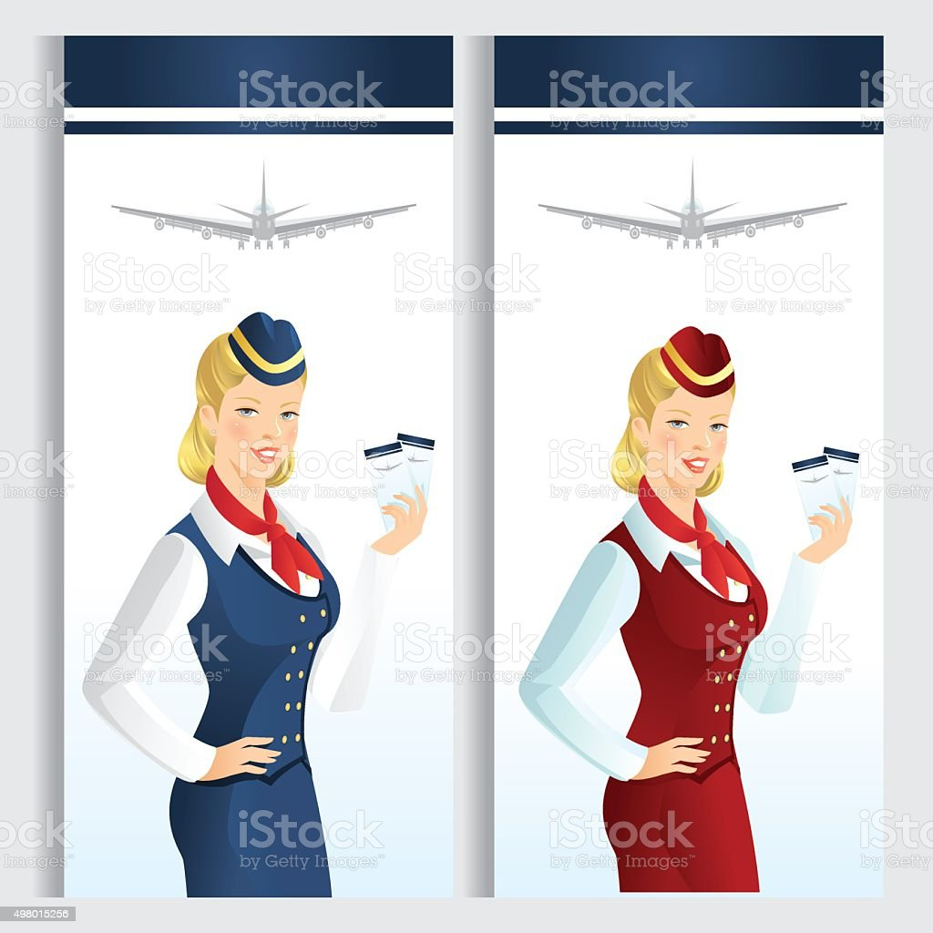 9914867ae80c8 Card or ticket template with beautiful blonde air hostess. royalty-free  card or ticket