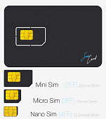 SIM Card. Phone Chip. Realistic Vector Icon. Isolated Object on Background
