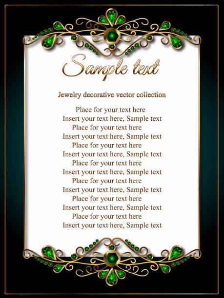 Karte, Priglastelnoe-Zertifikat oder ein Menü mit einem goldenen Rahmen gemacht von Juwelen, Smaragd-grün – Vektorgrafik