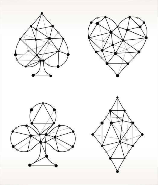Card s Set  Triangle Node Black and White Pattern Card s Set  Triangle Node Black and White Pattern. The main object depicted in this royalty free vector illustration is created with the triangular line pattern. The individual lines form nodes with small circles on each of the vertices. The background is white with a slight gradient around the edges. pattern stock illustrations