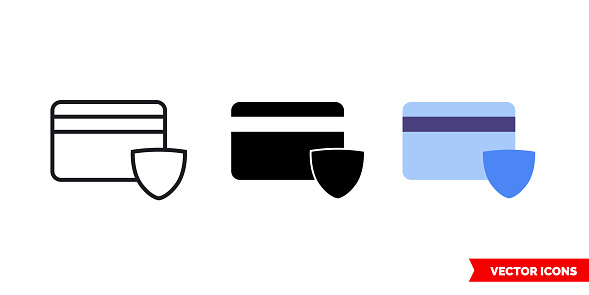 Card security icon of 3 types. Isolated vector sign symbol