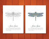Card set of colorful dragonfly
