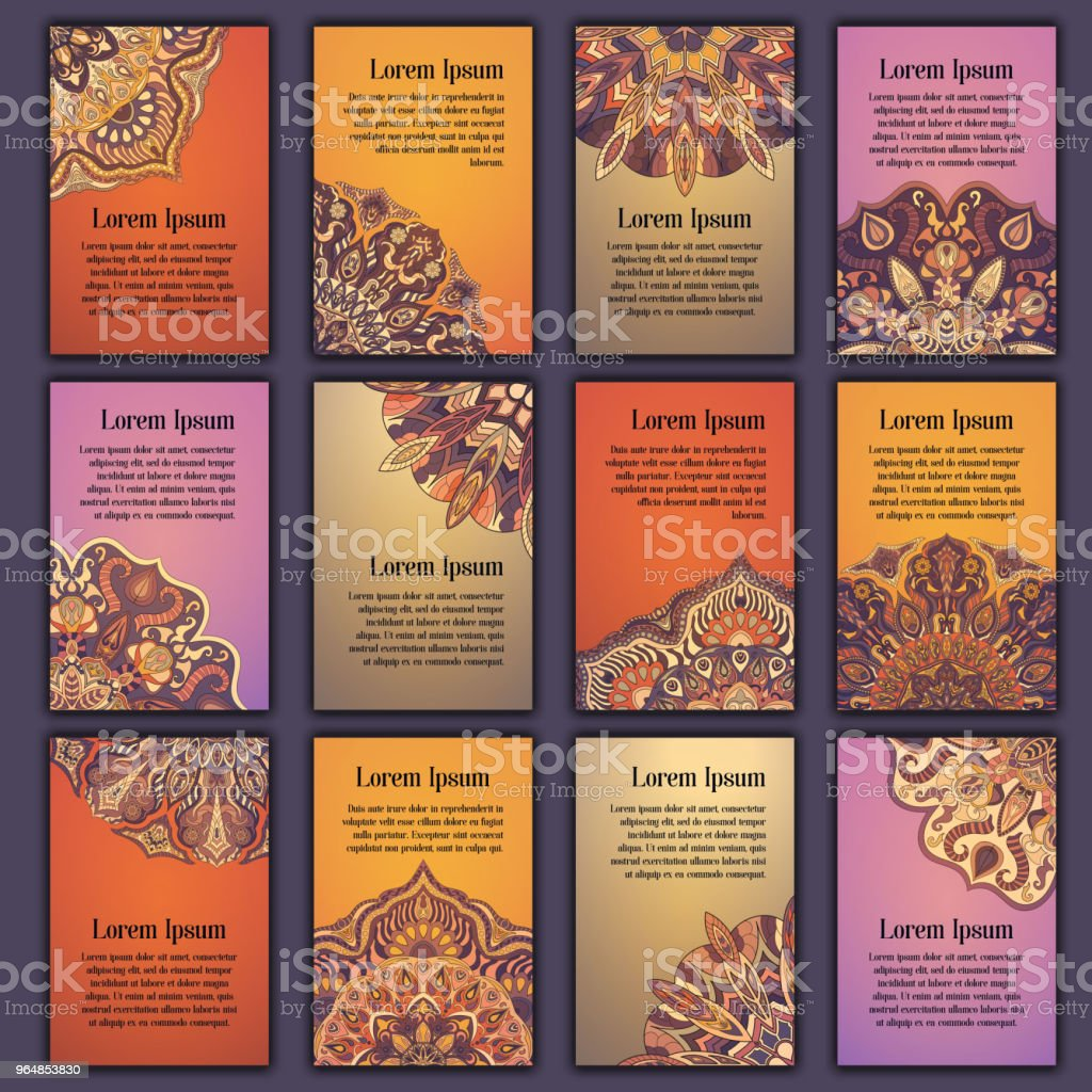 Card set with floral decorative mandala elements background. Asian Indian oriental ornate banners. royalty-free card set with floral decorative mandala elements background asian indian oriental ornate banners stock vector art & more images of abstract