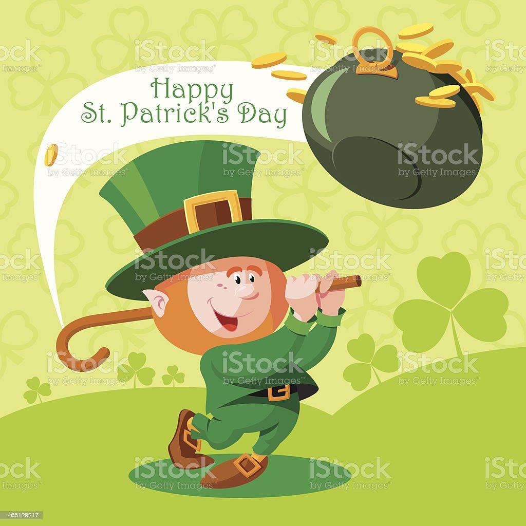 card st patricks day cute leprechaun playing golf stock vector art