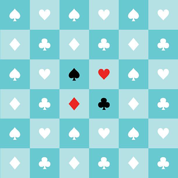 ilustrações de stock, clip art, desenhos animados e ícones de card suits blue aqua green mint white chess board background - lapa