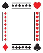 Vector illustration of an card styled frame with spades, hearts, clubs and diamonds.
