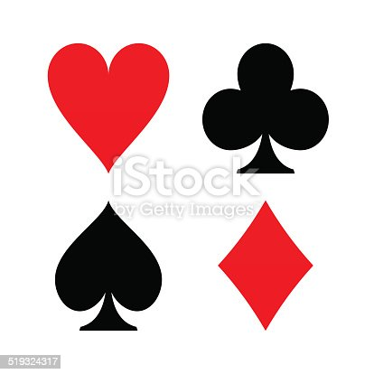 Poker game symbols like diamond spade heart club