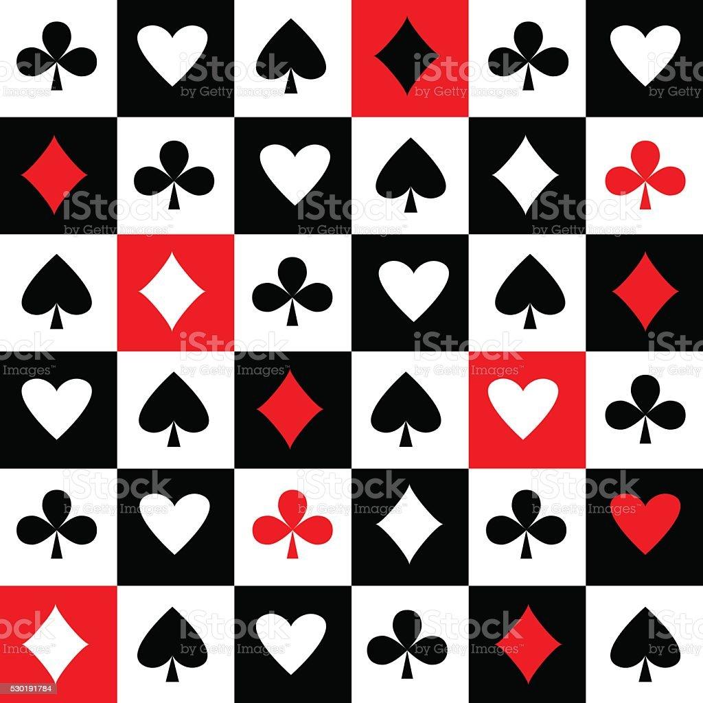 Card suits seamless pattern vector art illustration