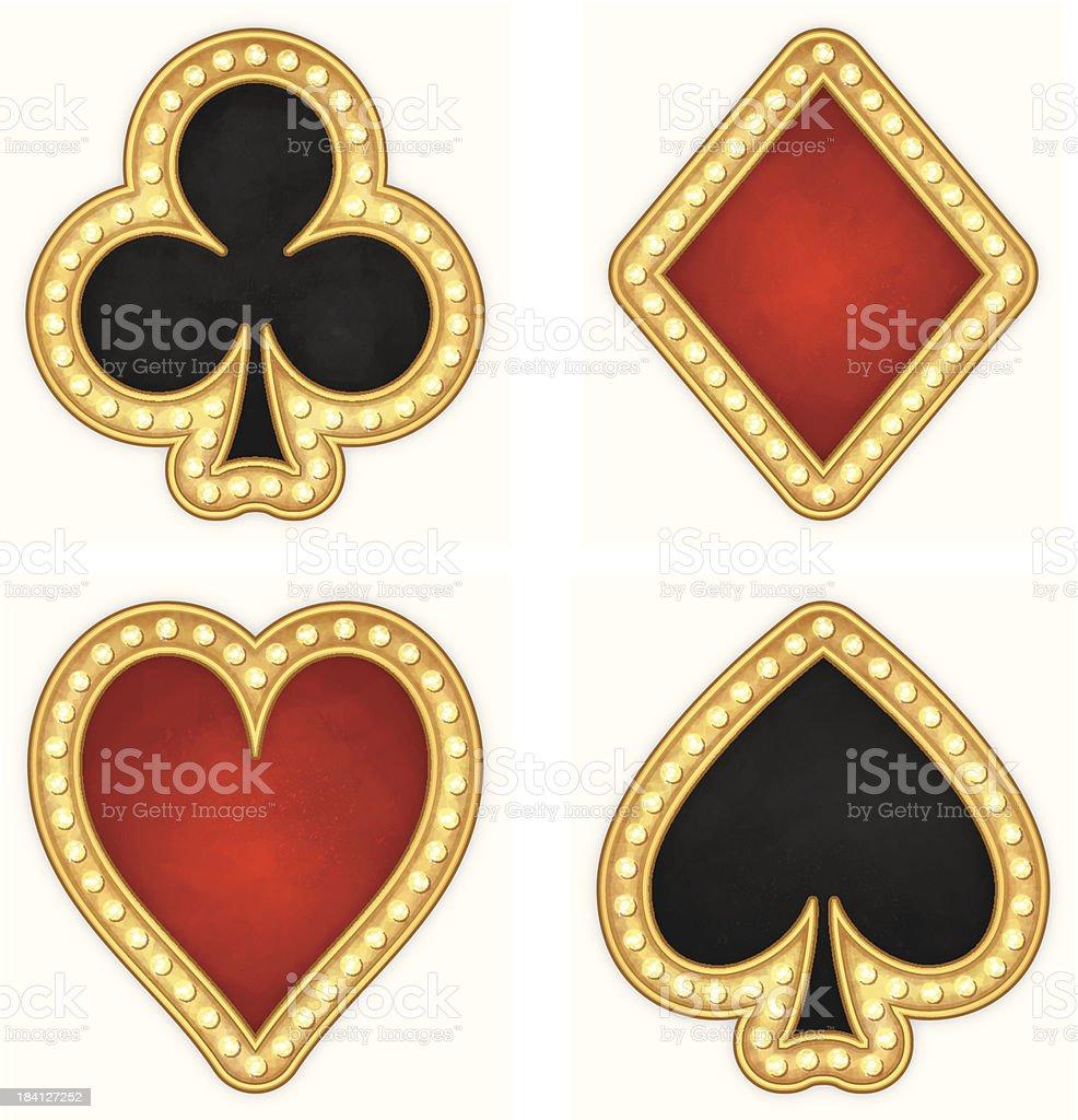 Karte Symboleherzen Clubs Spaten Und Diamanten Icons Stock Vektor ...