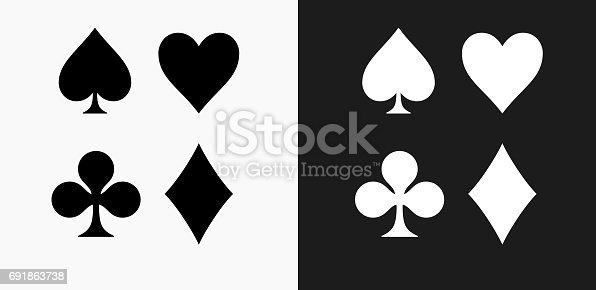 Card Symbols Set Icon on Black and White Vector Backgrounds. This vector illustration includes two variations of the icon one in black on a light background on the left and another version in white on a dark background positioned on the right. The vector icon is simple yet elegant and can be used in a variety of ways including website or mobile application icon. This royalty free image is 100% vector based and all design elements can be scaled to any size.