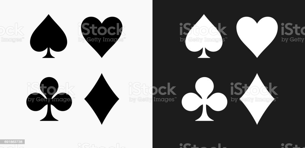 Card Symbols Set Icon on Black and White Vector Backgrounds vector art illustration