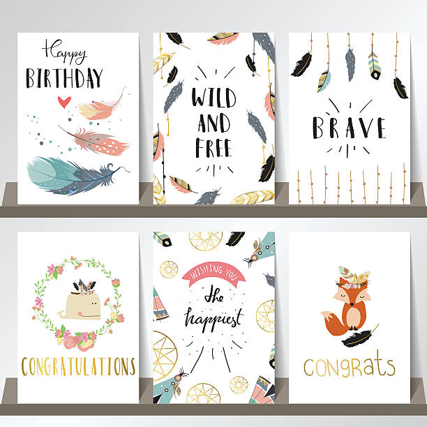 card template collection for banners,flyers,placards with wreath - bohemian fashion stock illustrations, clip art, cartoons, & icons