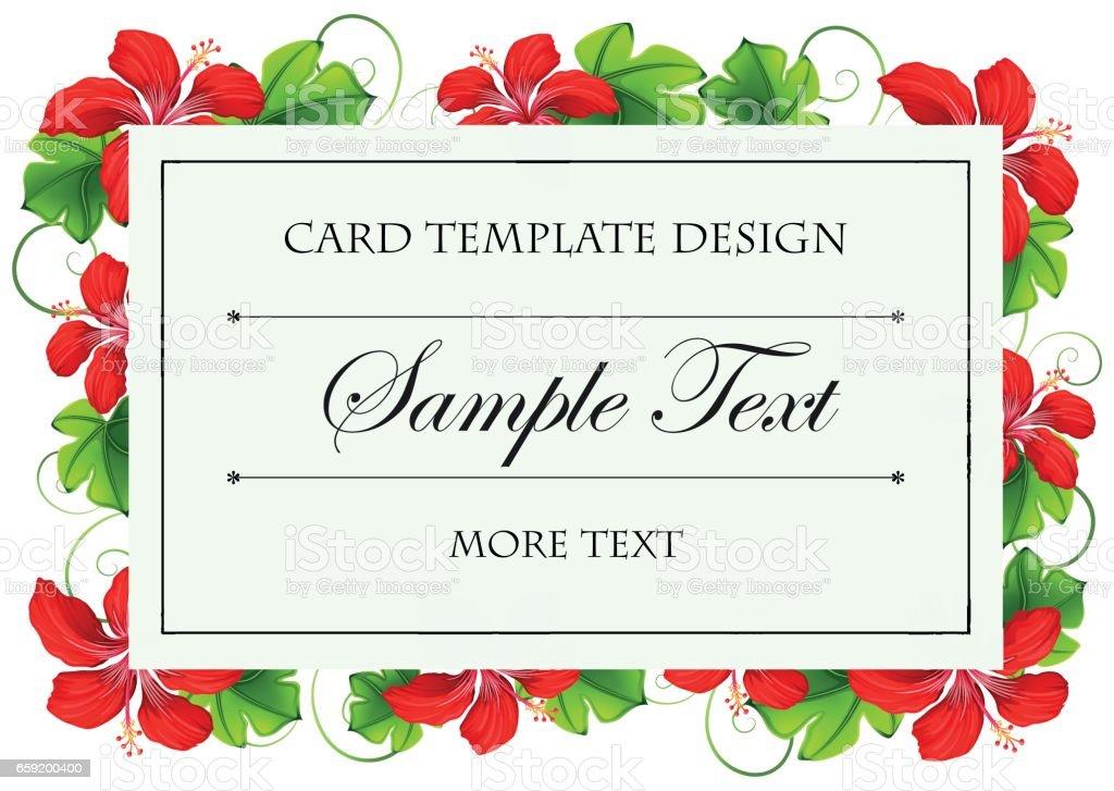 Kırmızı çiçekli kart şablon tasarımı vektör sanat illüstrasyonu