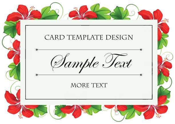 Diseño de plantillas de tarjetas con flores rojas - ilustración de arte vectorial