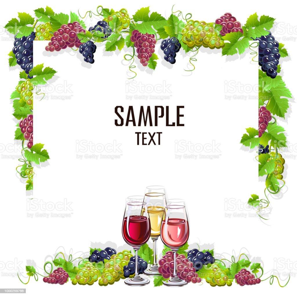 Kartenvorlage Mit Einem Glas Wein Und Trauben Stock Vektor Art und ...