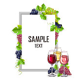 Card template with a glass of wine and grapes. Vector illustration.