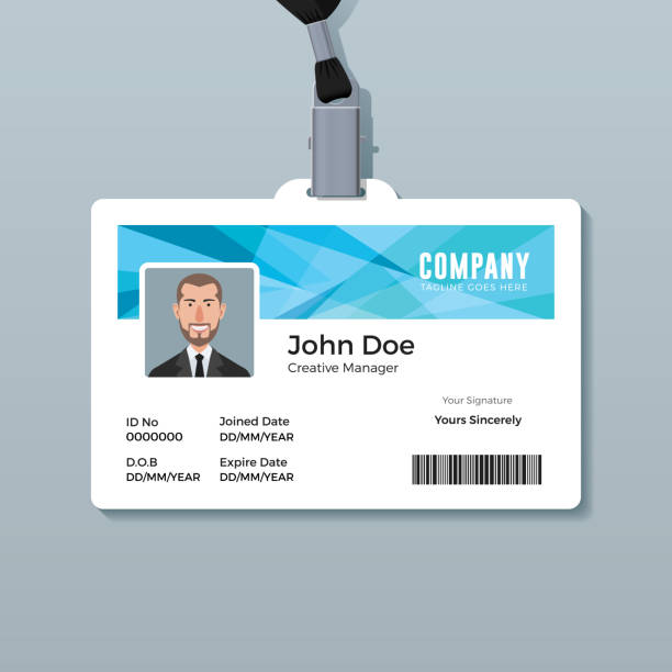 ID Card Template with Abstract Blue Background Creative employee identity card design id card stock illustrations