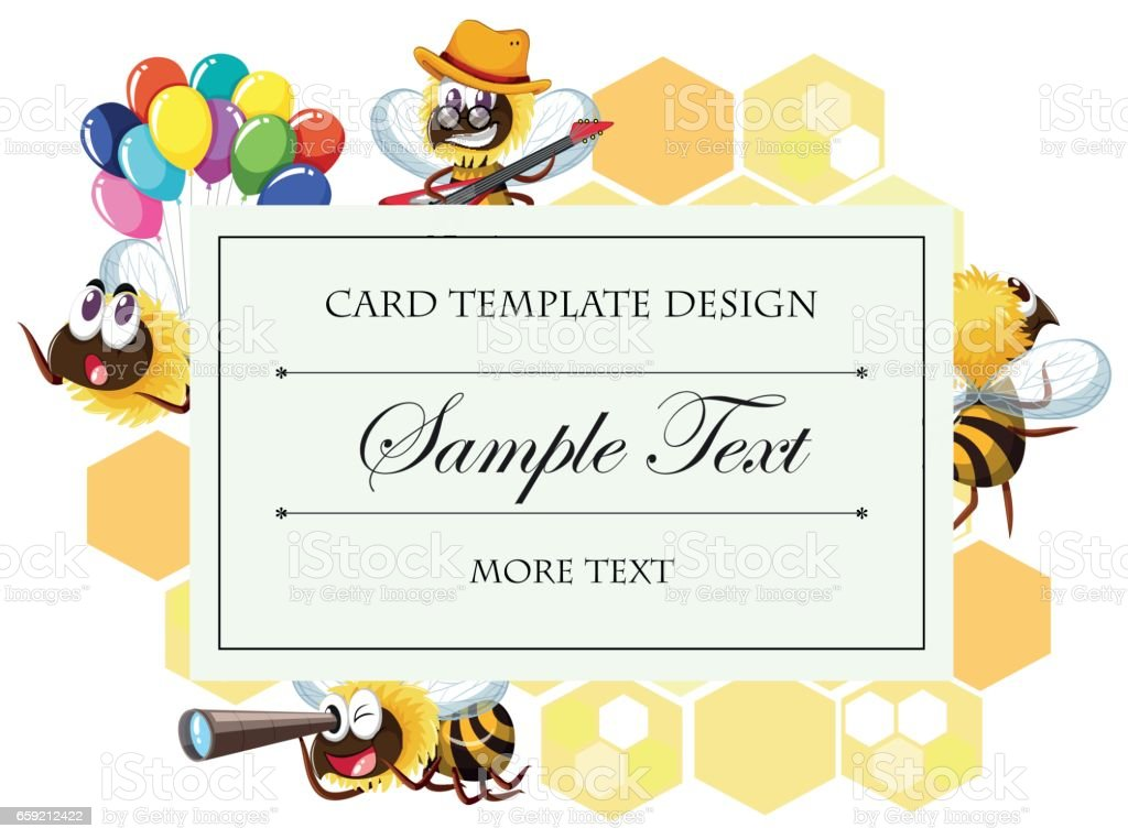 Card template with bee in different actions vector art illustration