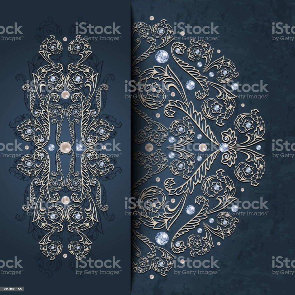Card template with diamonds and pearls vector art illustration