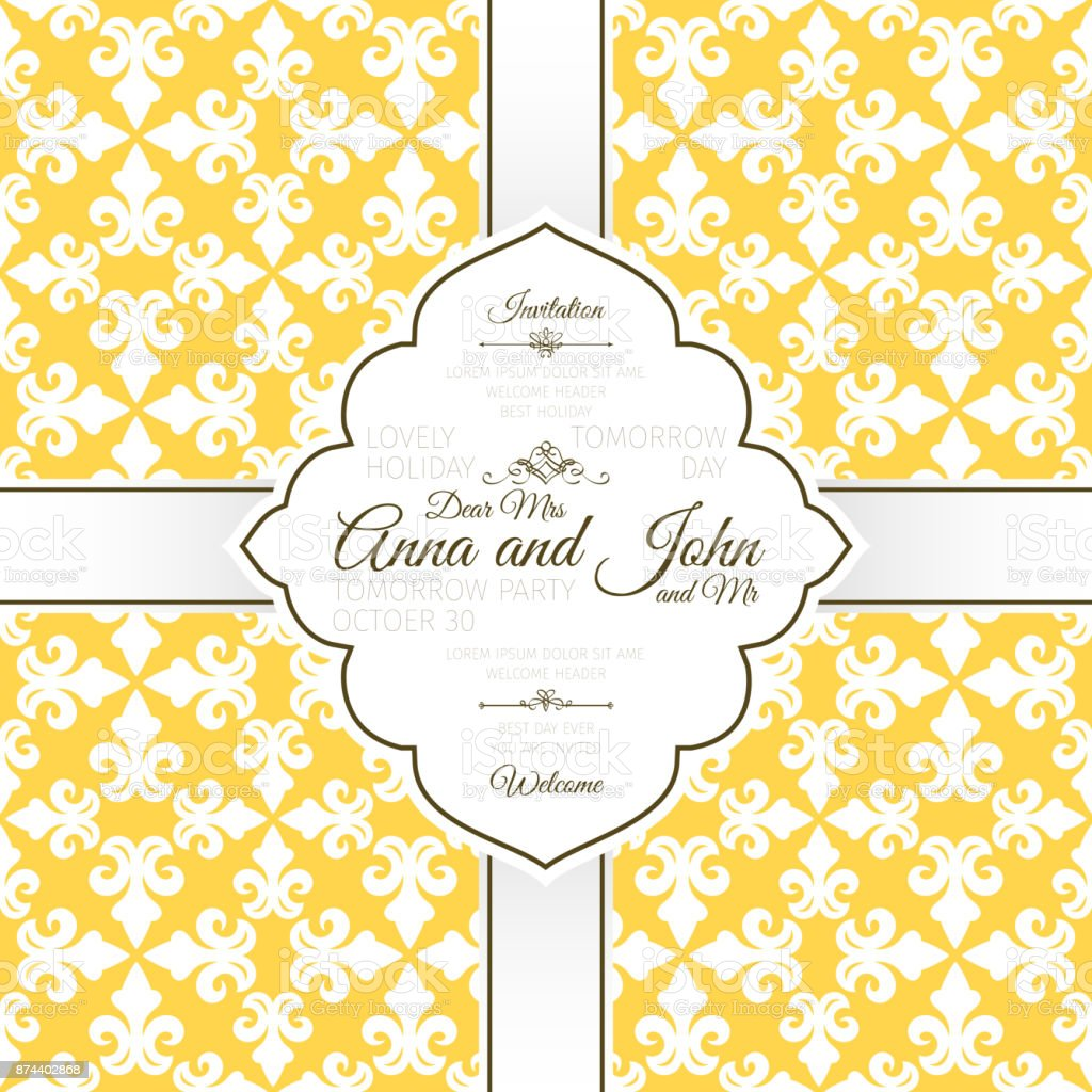 Card template with french yellow pattern vector art illustration